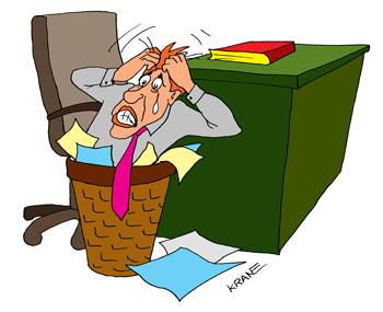Сотрудник допустил ошибку. Инженер боится ошибиться и быть оштрафованным за просчеты. Залез в корзину для бумаг и рвет на себе волосы.